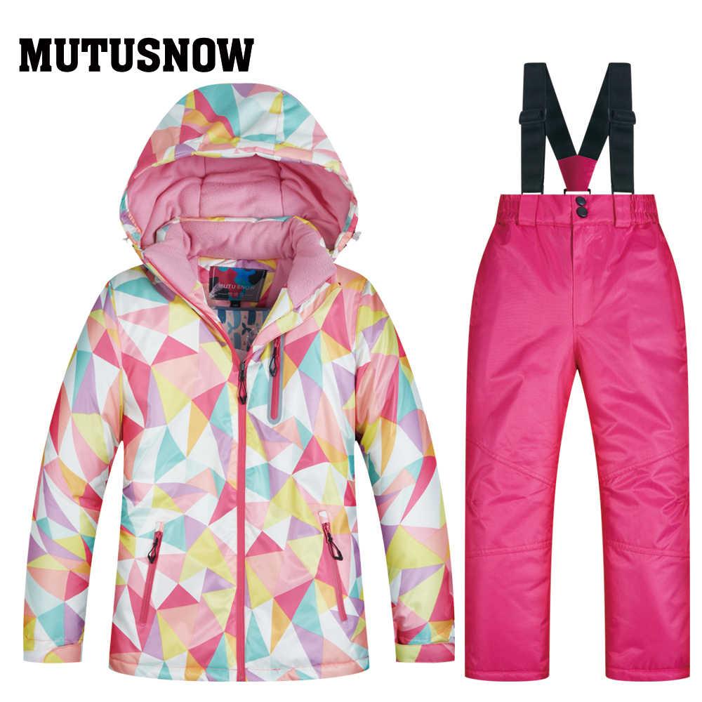 MUTUSNOW Girl Ski Suit Waterproof Windproof Hooded Jacket and Pant Thermal Little Kid Ski Snowboard Warm Girls Children Clothing