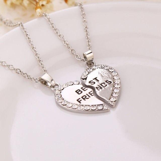 2c5003ec7 Melhores amigos para sempre letra encantos da colar da jóia do coração 2  cores mulheres roupas