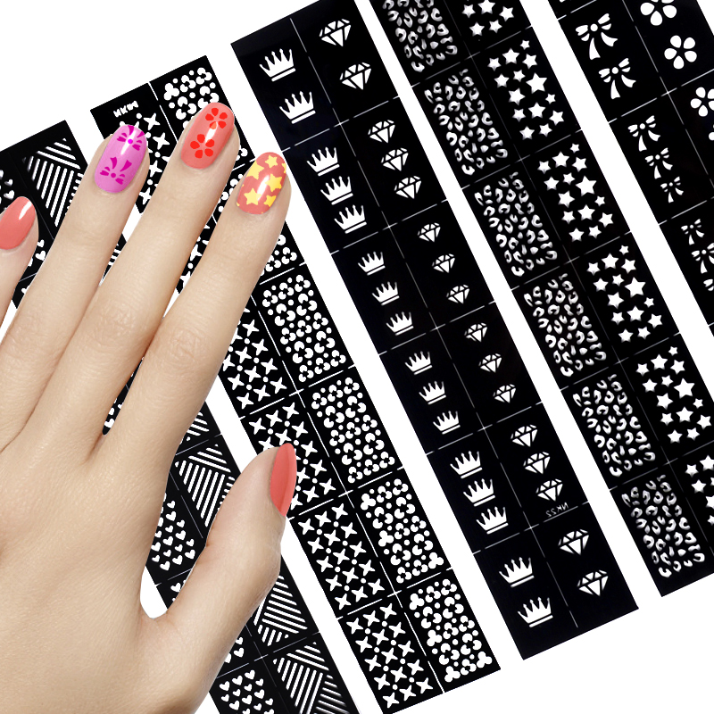 1Pc New Fashion Stamping Tool Nail Art Hollow Stickers Stencil Nail Art Stickes DIY Nail Design Pattern Stickers Manicure 6 pcs reusable stamping tool diy nail art hollow template stickers stamp stencil