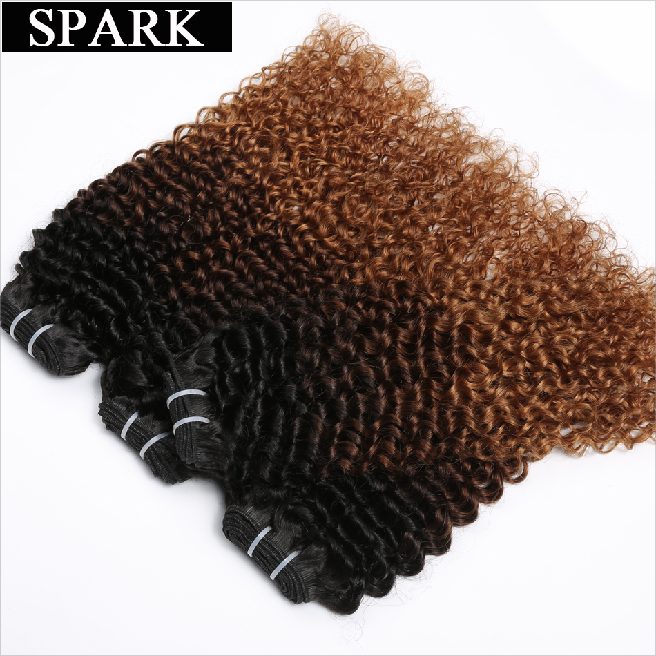 Spark Hair Ombre Brazilian Kinky Curly Hair Weave Ombre Human Hair 4 Bundles 1B/4/30 3 Tone Remy Hair Extensions No Shedding ...