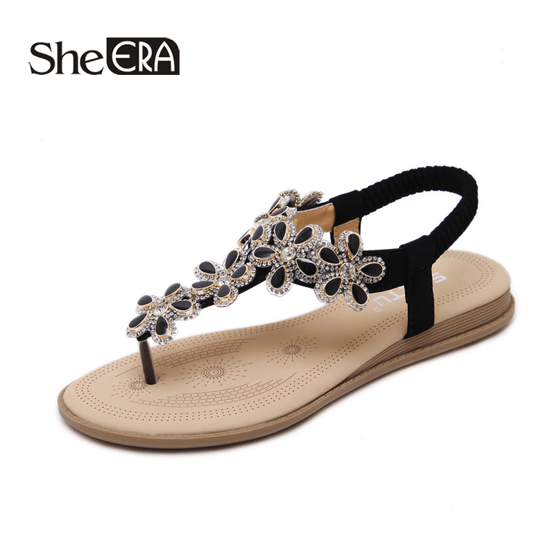 New Fashion Women Sandals Crystal Flower Casual Breathable Classic Shoes She ERA