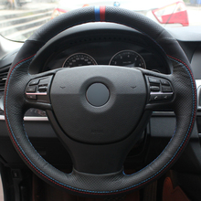 Hand sewing custom Black Leather Black Suede Blue Red Marker Car Steering Wheel Cover for BMW F10 523Li 525Li 2009 mewant black suede genuine leather car steering wheel cover for chevrolet niva 2009 2017 3 spoke