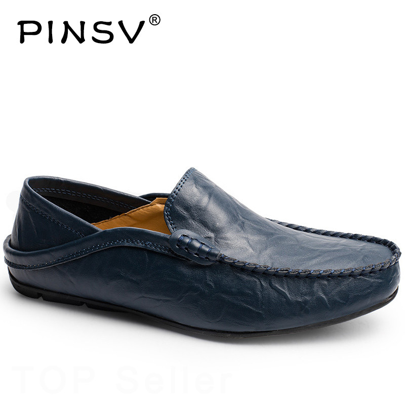 PINSV Leather Shoes Men Loafers Black Moccasins Men Shoes Casual Slip On Loafers Men Footwear Zapatos Hombre Plus Sizes 37-46 summer men sneakers flat shoes casual loafers black brown moccasins hombre male shoes adult slip on boat shoes zapatos hombre