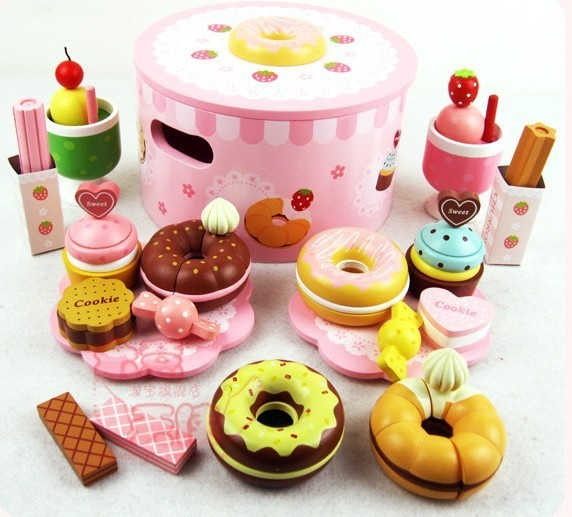 Free shiping!Wooden Toys Simulation Doughnut Set Wooden Play Food Set Child Pretend Play Kitchen Toys Gift