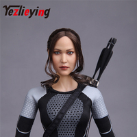 Ponytail hair Europe and the United States sexy beauty Jennifer Lawrence exquisite women's 1/6 head shape female head carving