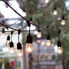 防水ヘビーデューティ 15 メートル屋外エジソン電球ストリングライトパーティーの庭のためのフェストゥーン接続可能クリスマスホリデー花輪カフェ