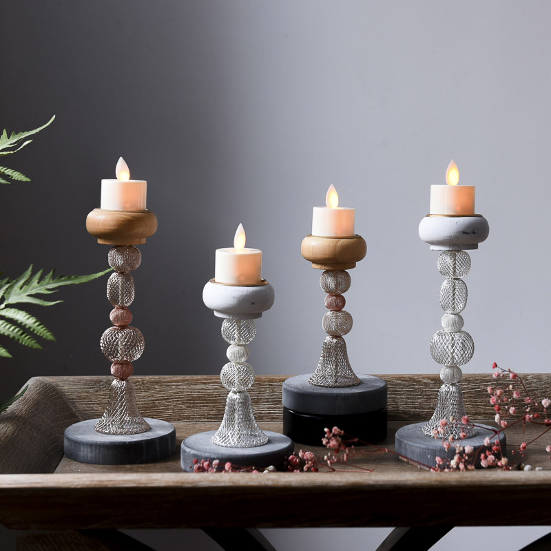 Nordic wooden decorative candlestick restaurant table