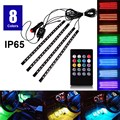 4pcs Car RGB Music Control LED Strip Light 8 Colors Car Styling Decorative Atmosphere Lamps Car Interior Light With Remote