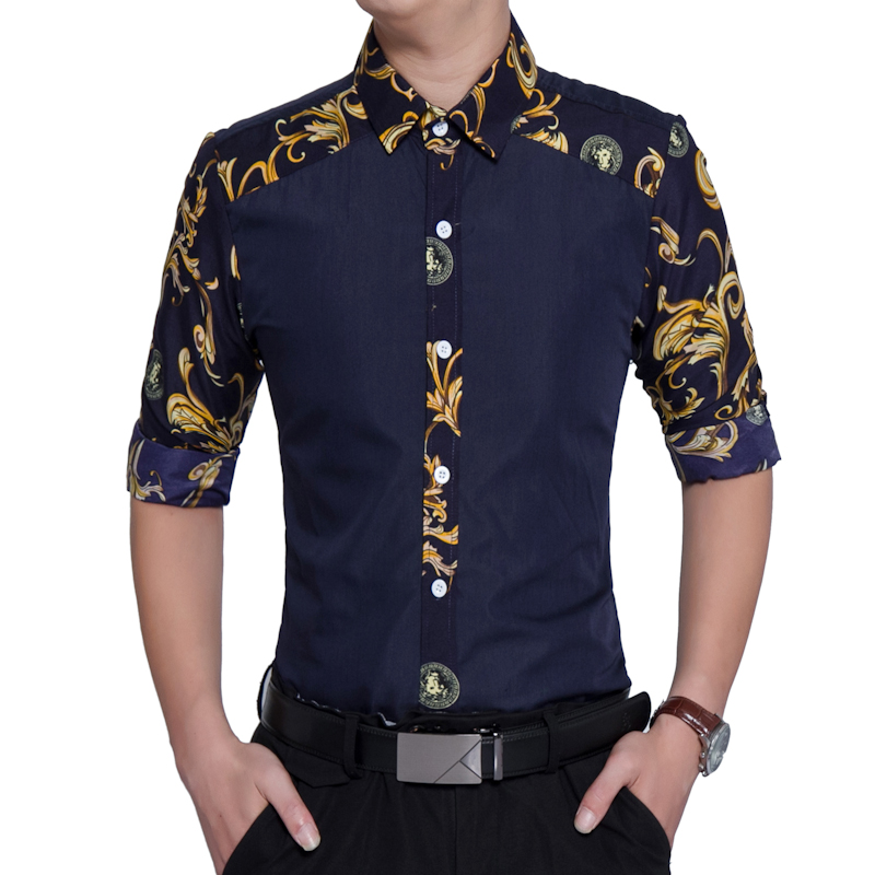 2019 Autumn New Men Shirt Fashion Contrast Color Patchwork Long-sleeved Flower Shirt Society Business Shirt Camisa Masculina