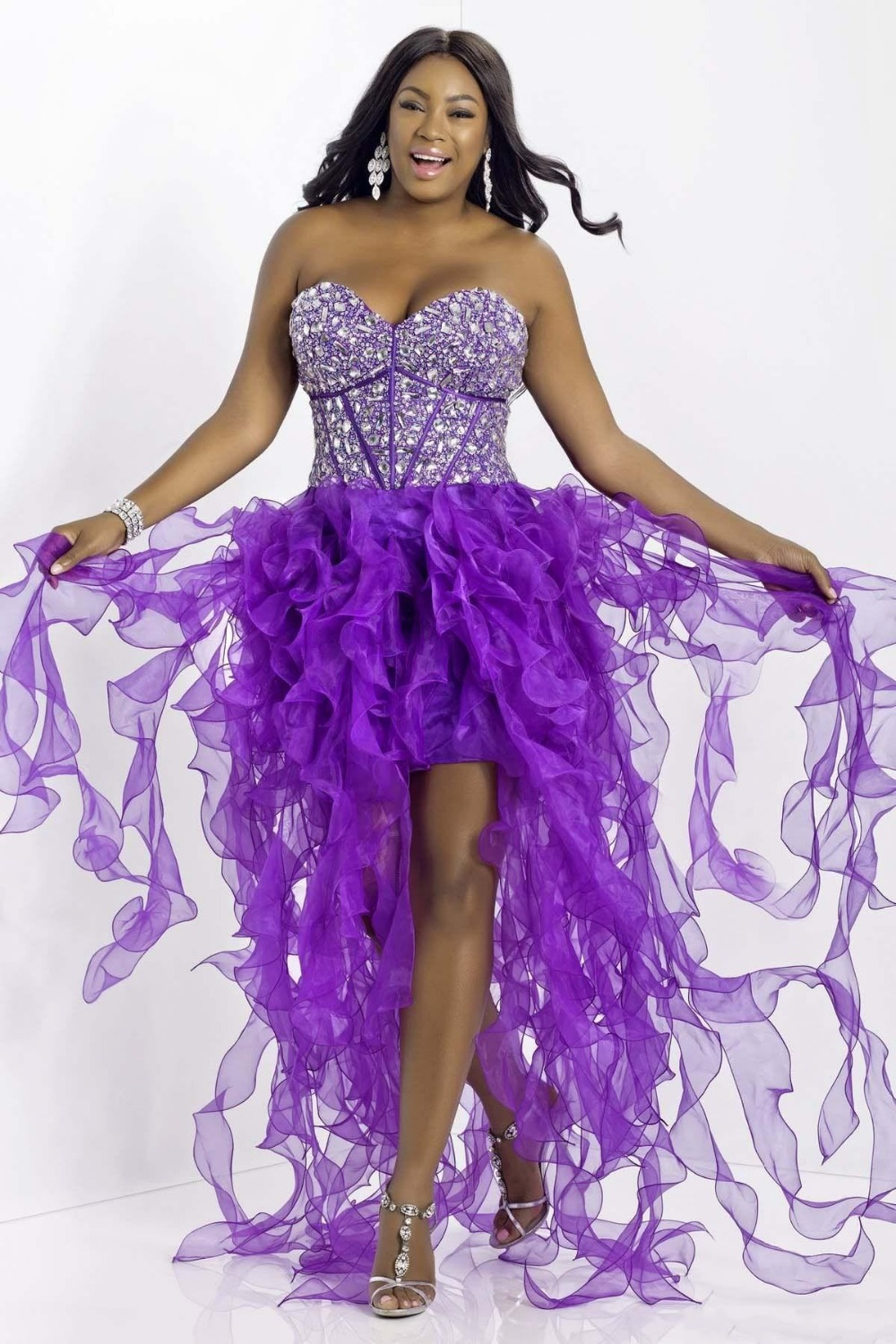Modest Purple Plus Size Prom Dresses Sweetheart Beaded Organza Long ...