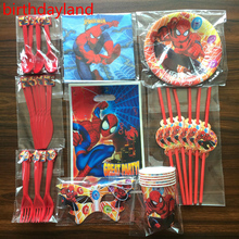 58pcs Spider man cup plate knife spoon napkin gift bag for Kids Birthday Party Decoration Set for 6people use Pack