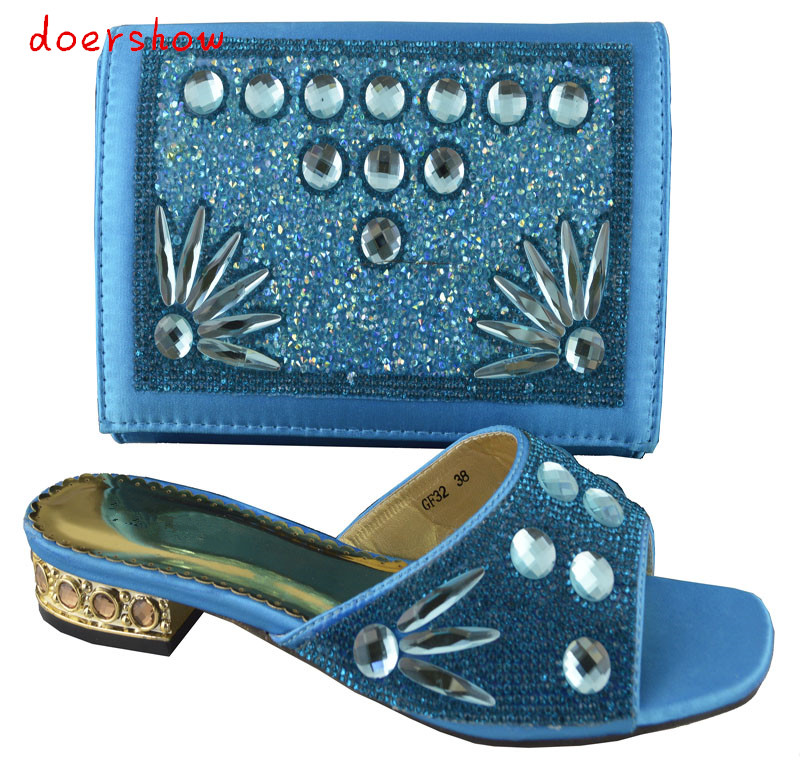 doershow Free shipping New arrival african shoes and matching bag set with rhineston italian ladies high heels pumps blue!HP1-48 free shipping fashion woman matching shoes and bag set italian for party high quality design wholesale price doershow hp1 23
