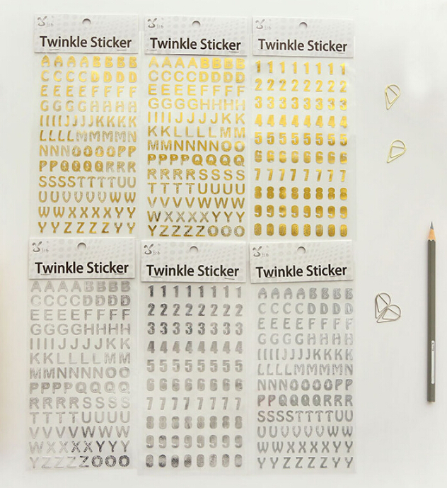 Very small numbers and letters metallic silver/gold decoration stickers DIY hot products - 1 set per sell