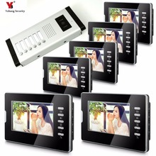 Yobang Security Apartment Intercom Entry 6 Monitor Wired 7″ Color button Video Door Phone intercom System for 6 house