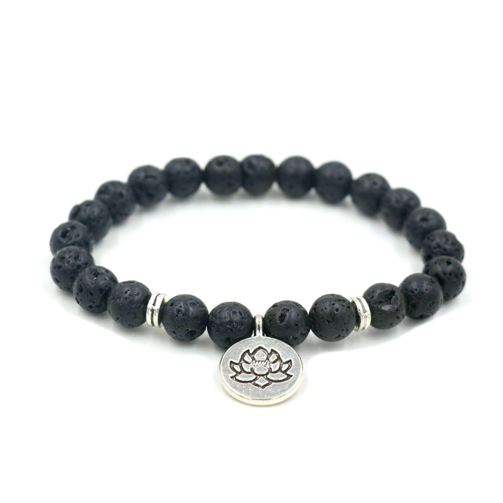 Natural Lava Stone Beads Antique Gold Silver Lotus Buddha OM Bracelet For Men Women Charm Yoga Bracelets Jewelry