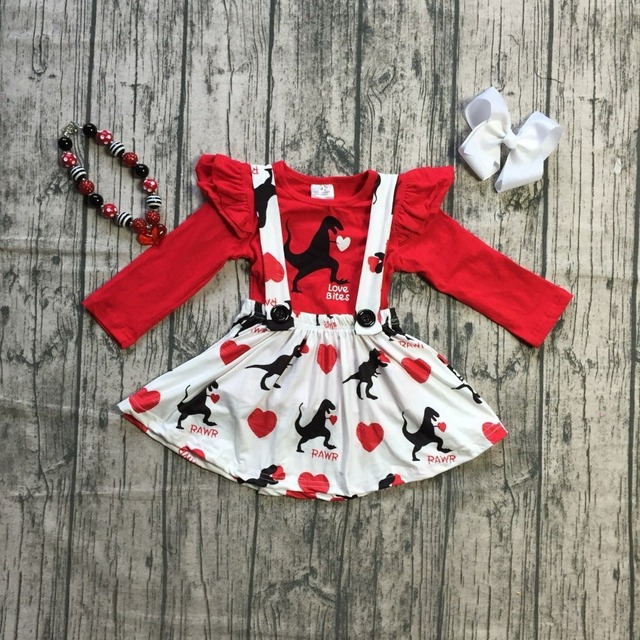 Girls Spring Baby Girls Valentines Day Clothes Children Red Top With Suspender Skirts Sets Outfits Kids
