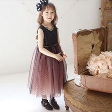 New Black Summer Kids Girl Princess Dress Sleeveless Mesh One Piece Long Dress 2-7Y X16