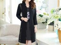 2018 Sıcak Sonbahar Kış Iki Parçalı Kadın giysileri Ayarlamak zarif Siyah Tül Ceket + Şerit Elbise Kore Ofis Kadın Elbise J420