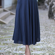 86d7c6dbe Navy Blue Ladies' Cotton Linen Skirt Chinese Women's Long Pleated Skirt  Summer New Casual Flared