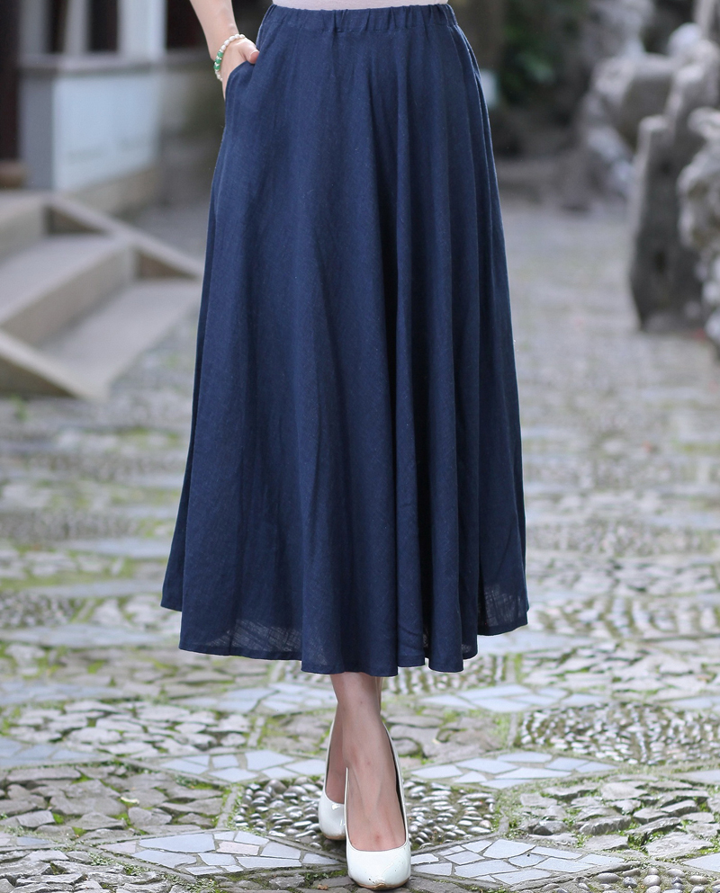 Navy Blue Ladies Cotton Linen Skirt Chinese Womens Long Pleated Skirt Summer New Casual Flared Skirts S M L XL XXL 2522-1