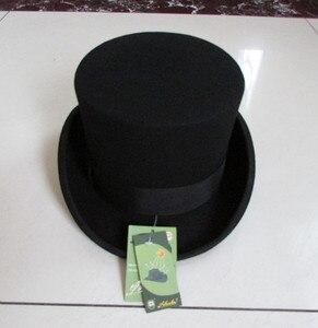 """Image 4 - גברים בסגנון בריטי פדורה צמר נשים Steampunk למעלה כובע צילינדר כובע קסמים קוסם חבילה טובה צמר מגבעות לבד שווי 12 ס""""מ גבוהה B 8114"""