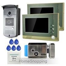 """ENVÍO GRATIS Home Portero Automático Con Cable de 7 """"Kit de Teléfono de la Puerta de Intercomunicación de vídeo + 1 Cámara + 2 Monitores + Eléctrico de Bloqueo De Control de Acceso RFID"""