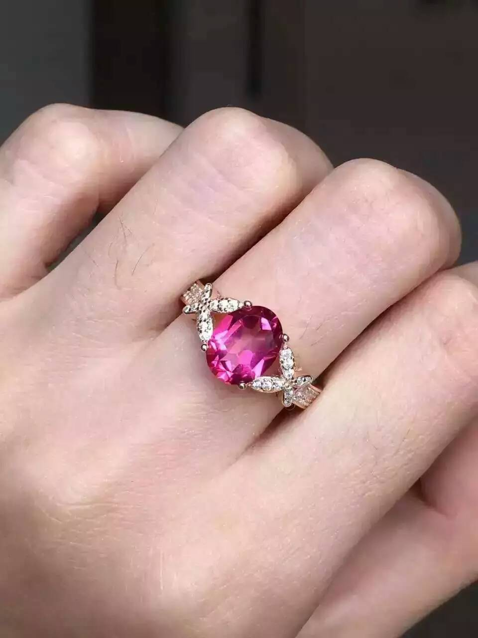 Natural red topaz gem Ring Natural gemstone ring 925 sterling silver trendy Bow butterfly women girl wedding party JewelryNatural red topaz gem Ring Natural gemstone ring 925 sterling silver trendy Bow butterfly women girl wedding party Jewelry