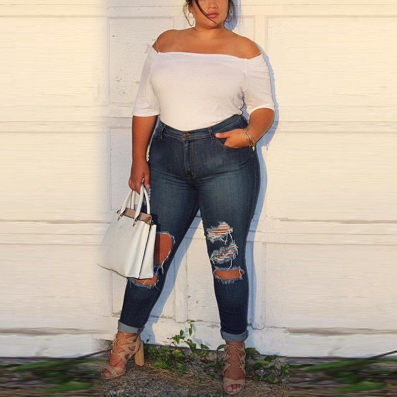 Casual Design ladies Pencil Trousers NEW Hole Ripped   Jeans   for Women Mid Waist Denim Plus Size 5XL fashion Skinny Pants Blue
