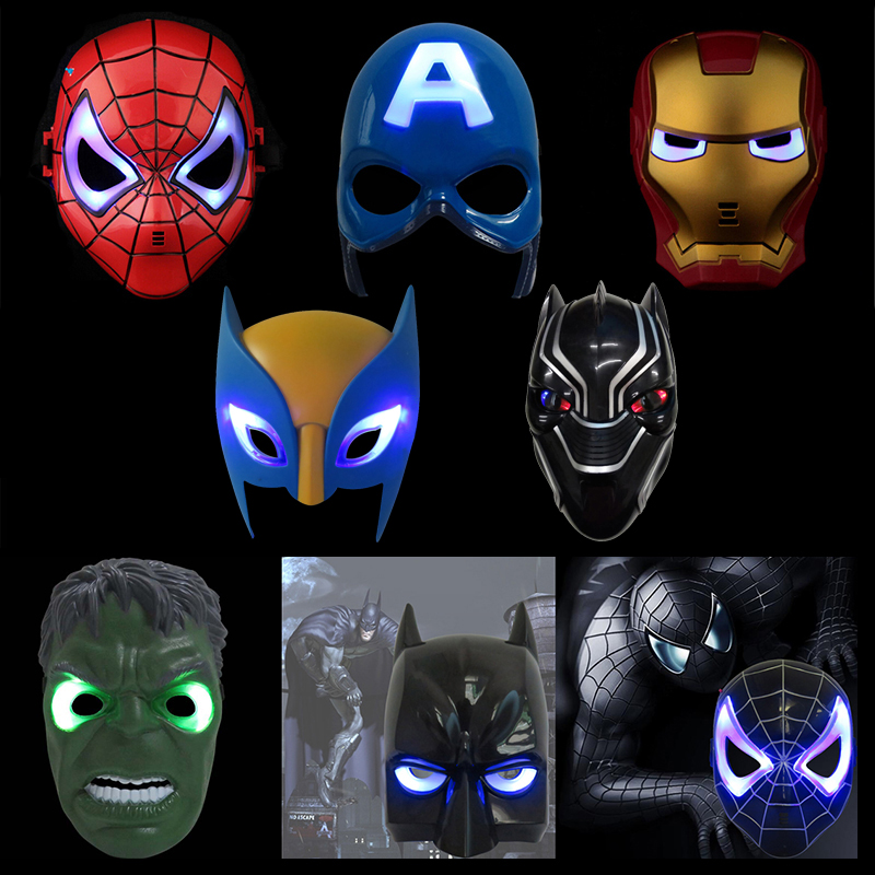 100pcs/lot EMS Shipping Free LED Glowing Super Hero Mask The Avengers Spiderman Captain America Iron Man Halloween Mask Toy