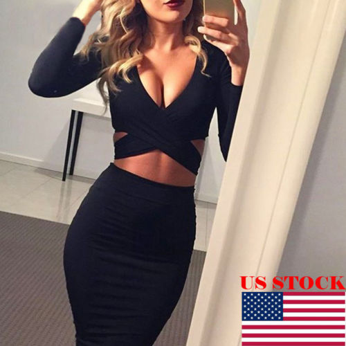 2018 Fashion Women Criss-cross Deep V Neck Dresses Sexy Bodycon Long Sleeve Bandage Pencil Clubwear Dress Ladies Vestidos