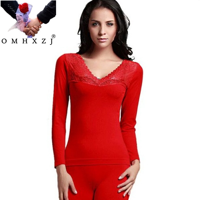 OMH Seamless Lace Flowers Long Johns Winter Women Round Neck Clothes Solid Color Comfortable Slim Thermal Underwear Suit UN09