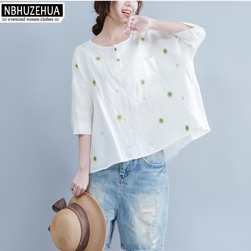 c7dae2e4747269 NBHUZEHUA 7G656 4XL 5XL 6XL Women T Shirt Flower Embroidery Yellow Red  White Tshirt Plus Size Cotton Linen Tops Tee Shirt Femme