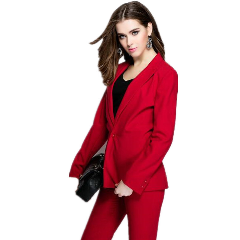 New Custom Red Womens Business Suits Formal Office Uniform Evening Female Work Wear 2 Piece Sets Blazer Ladies Trouser Suit