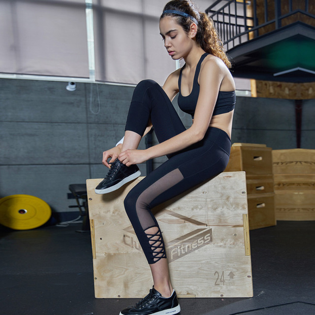 Women High Waisted Bondage Capris Sports Leggings