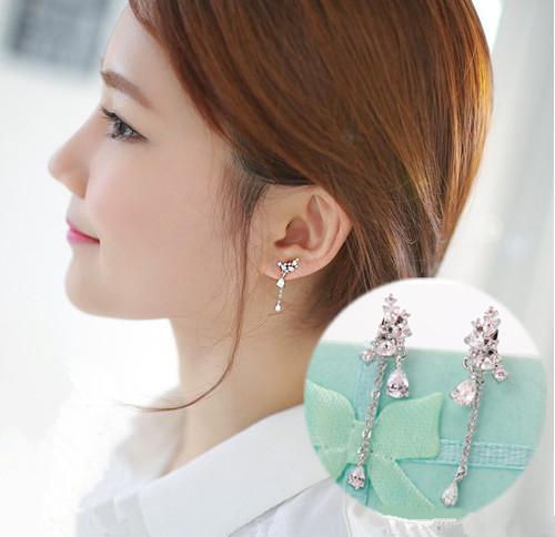2017 Nova marca de design Coreano jóias doce 100% puro 925 Brincos de Prata Asas de Anjo De Cristal De Luxo feminino Gota Butterfl