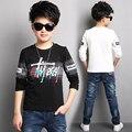 Novos Meninos Impresso T-shirt Roupas Para Crianças Meninos Encabeça Roupas Adolescente crianças Camisas de Manga Longa Para 4-16 Anos de Idade Adolescentes meninos