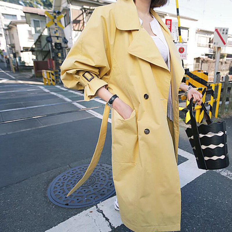 High Quality Women Fashion Comfortable Loose A-line   Trench   Coat Professional Temperament Outdoor Warm Long   Trench
