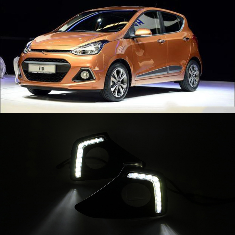 Car Flashing 1Pair LED Daytime Running Light Fog Lights For Hyundai Grand I10 Xcent 2013 2014