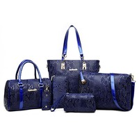 6 Sets Luxury Brands Women Tote Shoulder Messenger Clutch Composite Bags High Quality Serpentine Handbag