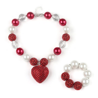 Hot Selling Children Girl S Necklace Set Fashion Kids Jewelry Heart Acrylic Beads Chunky Jewelry Set