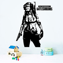 PUBG Corporation Game Playroom Wall Sticker Kids Room Engine Home Decoration Boys Teen Children Games Decor LY1363