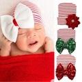 Sweet Newborn Baby Girl Beanie Big Bow knot Flower Striped Winter Hat Cap Newborn Photography Props Kids Winter Hats Christmas