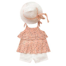 2019 Spring Korean Fashiopn edition set Toddler Kids Baby Girls Outfits Clothes Chiffon Floral Vest+Shorts Pants+Hat Set(China)