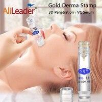 Alileader уход за кожей лица Инструменты против морщин золотой ролик для кожи, игольчатый прибор для подтягивания кожи лица стройнее 0,6 мм иглы