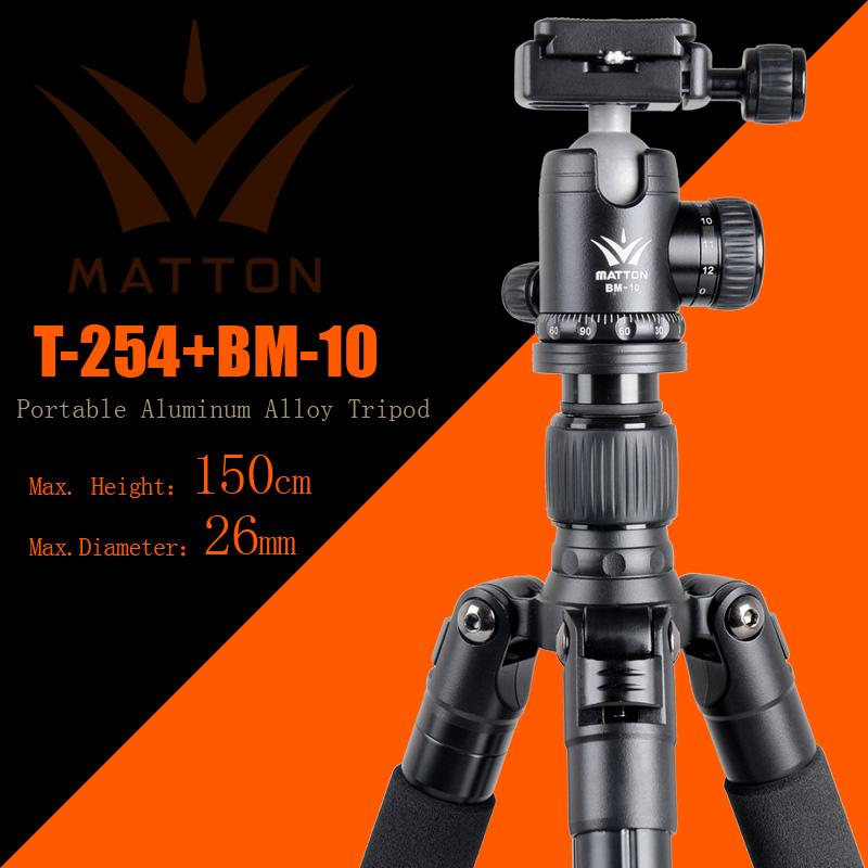 Free shipping Matton T-254+BM-10 Professional Photographic Travel Compact Aluminum Tripod For Digital/Video/Mirrorless Camera
