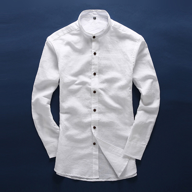 Men White Linen Shirt Stand Collar Chinese Traditional