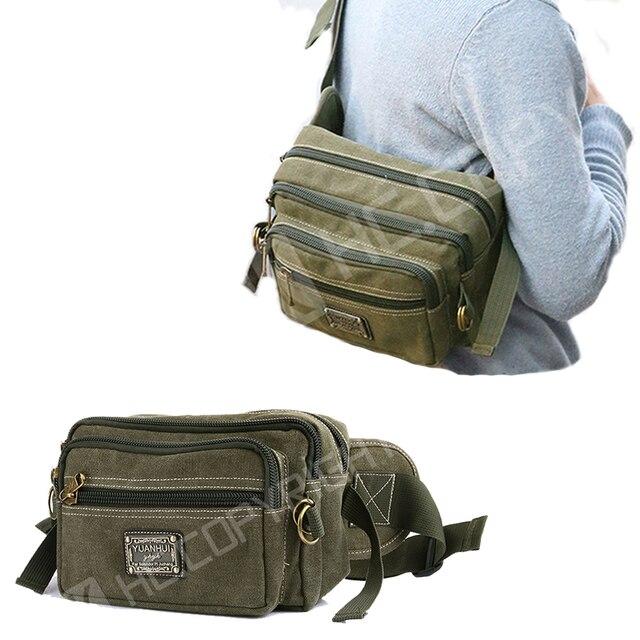 5848c780709a2 Vintage Spor Bel Paketleri Fanny Paketi Adam Tırmanma Tuval Ordu Yeşil  Seyahat Yürüyüş Çanta Erkekler Kadınlar