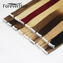 "FOREVER HAIR 2,0 g / sztuka 16 ""Remy Skin Weft Adhesive Human Hair Extension Tape In Human Hair Invisible Seamless Straight 20pcs / pac"
