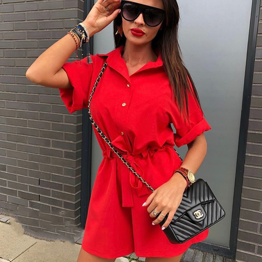 db68c7a3e5a6 2018 Autumn Fashion New Women Short Sleeved Lapels Button Playsuits Sweet  Loose Shirt Rompers Casual Sashes Jumpsuit Plus Size