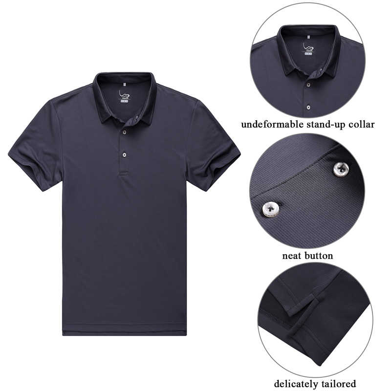 6a43e61b2 ... EAGEGOF Polyester men s short sleeve golf sport polo shirt with  Turb-down Collar UAV golf ...